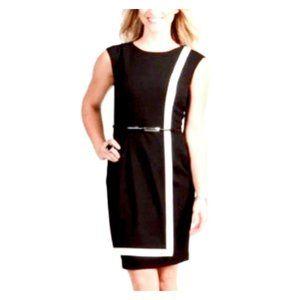 Calvin Klein Faux Wrap Contrast Trim Luxe Dress